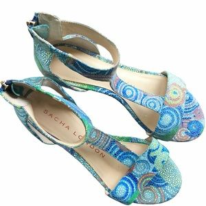 SACHA LONDON Leather T-Strap Wedge Sandals Blue 8